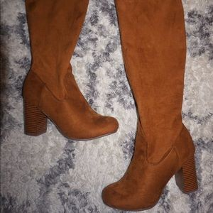brown square heel boots